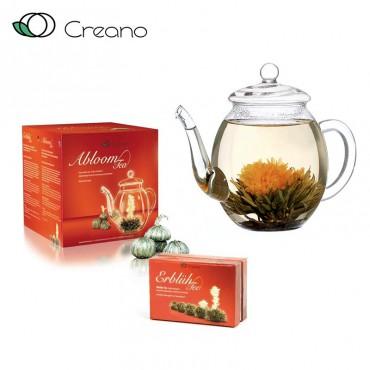 Creano virágzó tea szett kancsóval és 6 db virágzó fehér teával