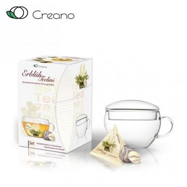 Creano virágzó tea szett csészével és 8 db virágzó fehér teával